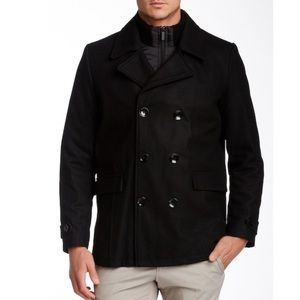 Kenneth Cole Wool Blend Double Breasted Coat